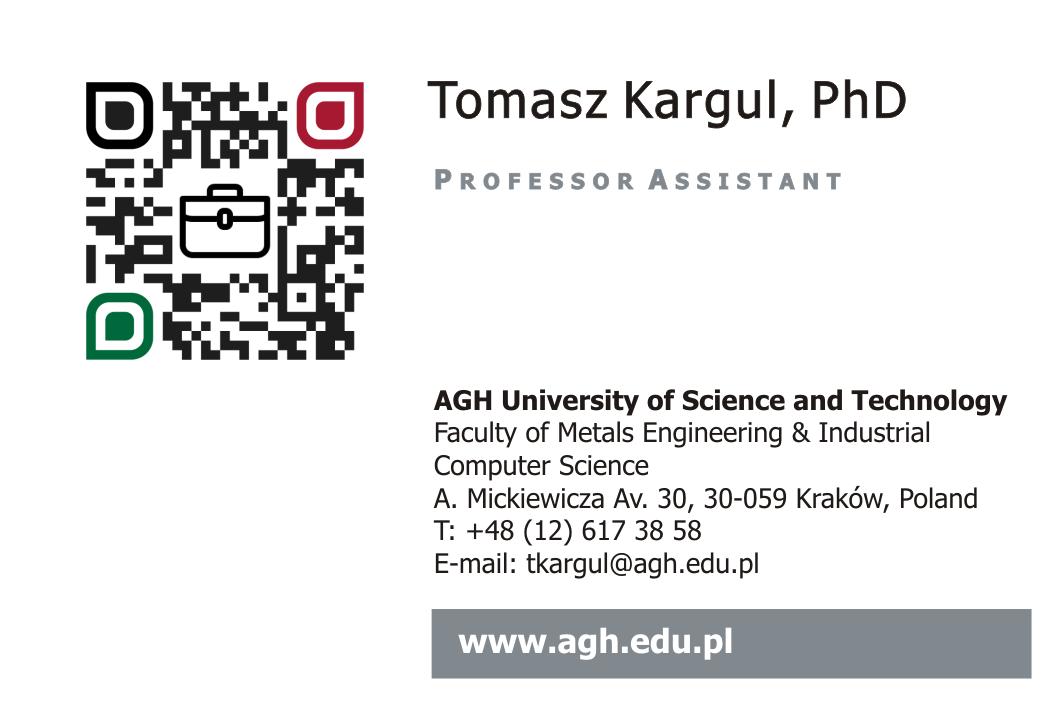 Dr Tomasz Kargul business card